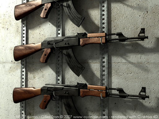 Free 3D models - AK-47 Kalashnikov assault rifle (POV-Ray